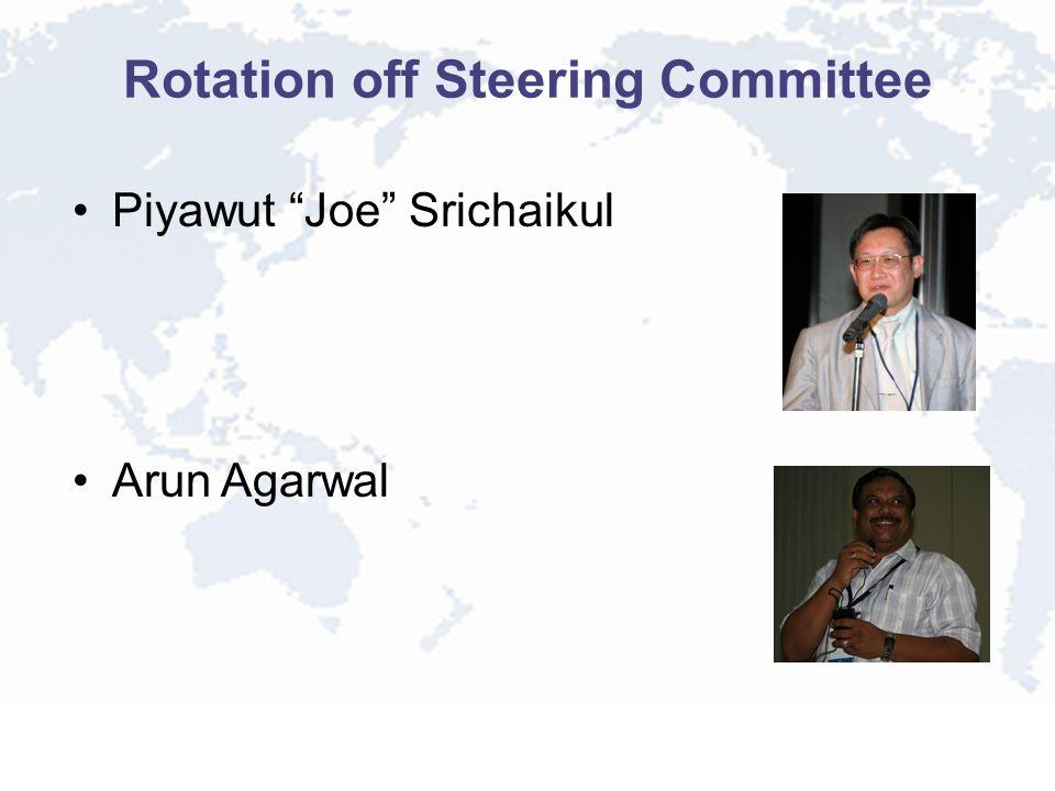 Rotation off Steering Committee Piyawut Joe Srichaikul Arun Agarwal