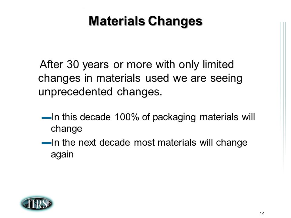 ITRS Winter Conference 2007 Kamakura, Japan 12 Materials Changes After 30 years or more with only limited changes in materials used we are seeing unprecedented changes.