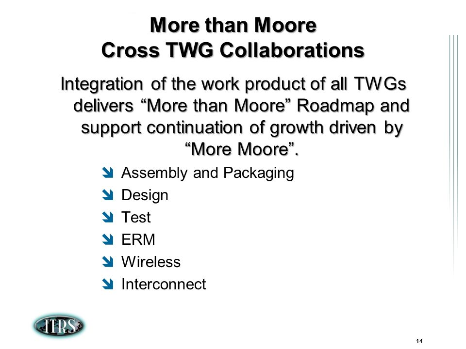 ITRS Winter Conference 2007 Kamakura, Japan 14 More than Moore Cross TWG Collaborations Integration of the work product of all TWGs delivers More than Moore Roadmap and support continuation of growth driven by More Moore.