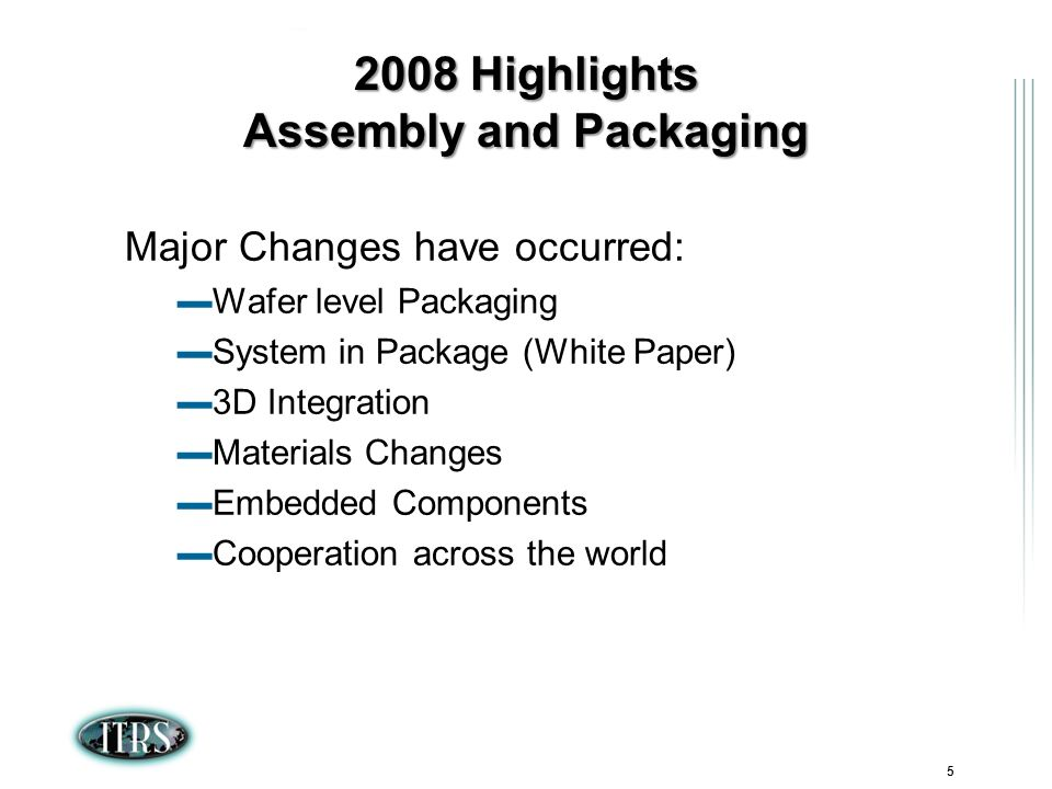 ITRS Winter Conference 2007 Kamakura, Japan 5 2008 Highlights Assembly and Packaging Major Changes have occurred: Wafer level Packaging System in Package (White Paper) 3D Integration Materials Changes Embedded Components Cooperation across the world