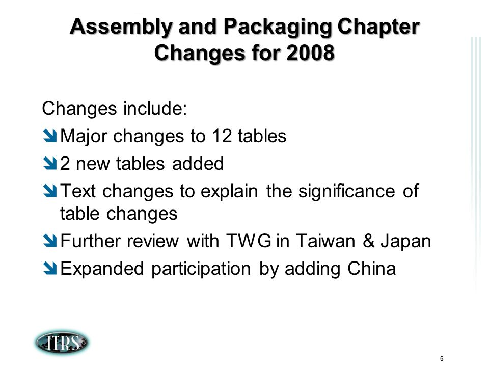 ITRS Winter Conference 2007 Kamakura, Japan 6 Assembly and Packaging Chapter Changes for 2008 Changes include: Major changes to 12 tables 2 new tables added Text changes to explain the significance of table changes Further review with TWG in Taiwan & Japan Expanded participation by adding China