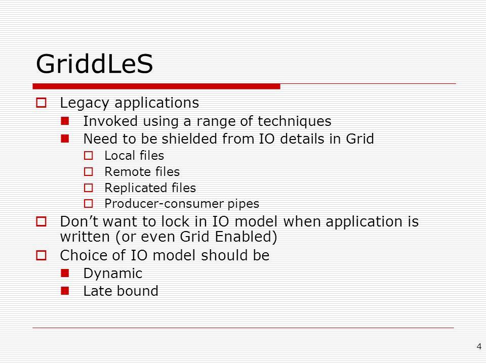5 Flexible IO in GriddLeS read() write() seek() open() close() Local File Local File Remote File Remote File Remote Application Process FileMultiplexer Legacy Application Cache Late bound decision Replica SRB Replica