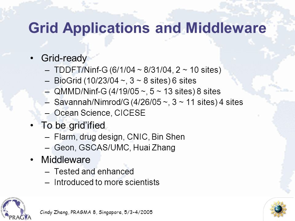 Cindy Zheng, PRAGMA 8, Singapore, 5/3-4/2005 Grid Applications and Middleware Grid-ready –TDDFT/Ninf-G (6/1/04 ~ 8/31/04, 2 ~ 10 sites) –BioGrid (10/2