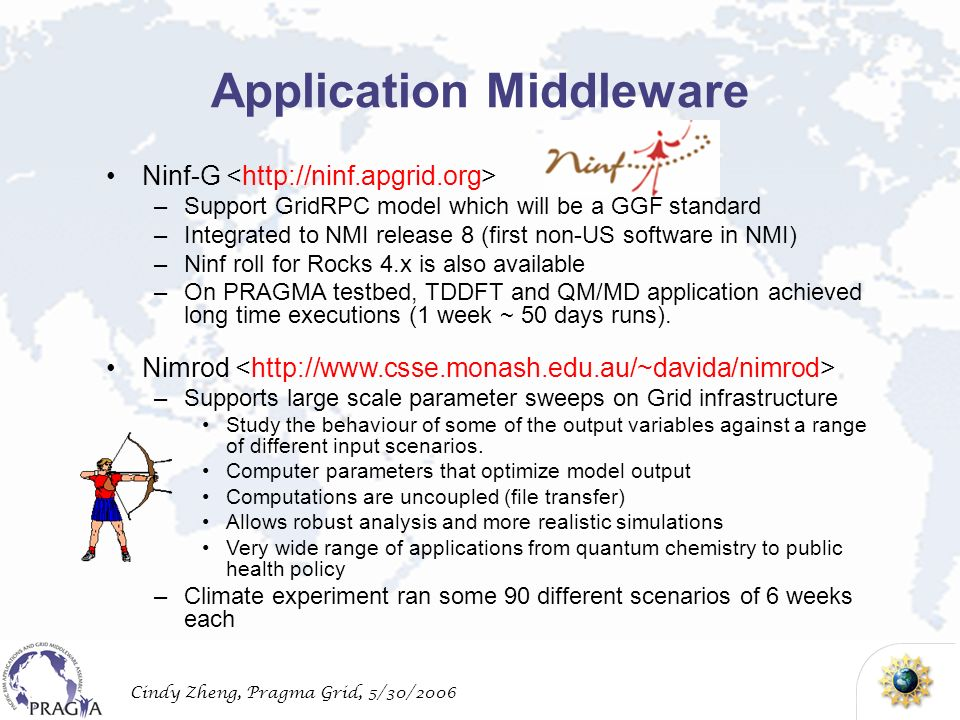 Cindy Zheng, Pragma Grid, 5/30/2006 Application Middleware Ninf-G –Support GridRPC model which will be a GGF standard –Integrated to NMI release 8 (first non-US software in NMI) –Ninf roll for Rocks 4.x is also available –On PRAGMA testbed, TDDFT and QM/MD application achieved long time executions (1 week ~ 50 days runs).