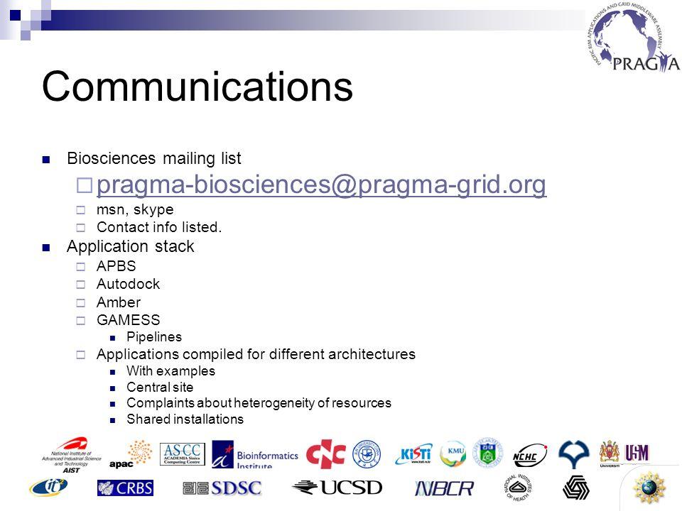10 Communications Biosciences mailing list pragma-biosciences@pragma-grid.org msn, skype Contact info listed. Application stack APBS Autodock Amber GA