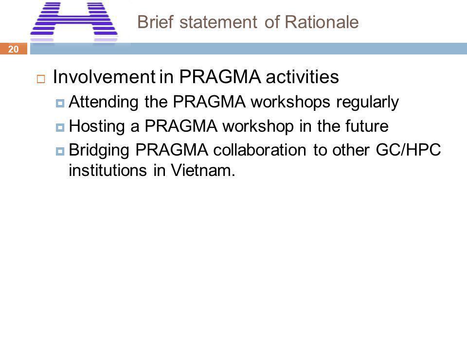 20 Brief statement of Rationale Involvement in PRAGMA activities Attending the PRAGMA workshops regularly Hosting a PRAGMA workshop in the future Brid