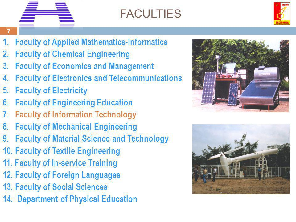 7 FACULTIES 1. Faculty of Applied Mathematics-Informatics 2.