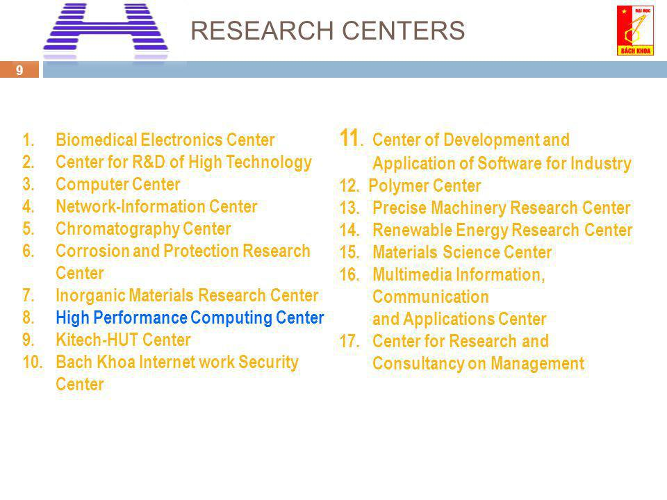 9 1.Biomedical Electronics Center 2.Center for R&D of High Technology 3.Computer Center 4.Network-Information Center 5.Chromatography Center 6.Corrosion and Protection Research Center 7.Inorganic Materials Research Center 8.High Performance Computing Center 9.Kitech-HUT Center 10.Bach Khoa Internet work Security Center 11.Center of Development and Application of Software for Industry 12.