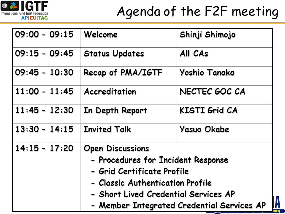 Agenda of the F2F meeting 09:00 - 09:15 Welcome Shinji Shimojo 09:15 - 09:45 Status Updates All CAs 09:45 - 10:30 Recap of PMA/IGTF Yoshio Tanaka 11:00 - 11:45 Accreditation NECTEC GOC CA 11:45 - 12:30 In Depth Report KISTI Grid CA 13:30 - 14:15 Invited Talk Yasuo Okabe 14:15 - 17:20 Open Discussions - Procedures for Incident Response - Procedures for Incident Response - Grid Certificate Profile - Grid Certificate Profile - Classic Authentication Profile - Classic Authentication Profile - Short Lived Credential Services AP - Short Lived Credential Services AP - Member Integrated Credential Services AP - Member Integrated Credential Services AP
