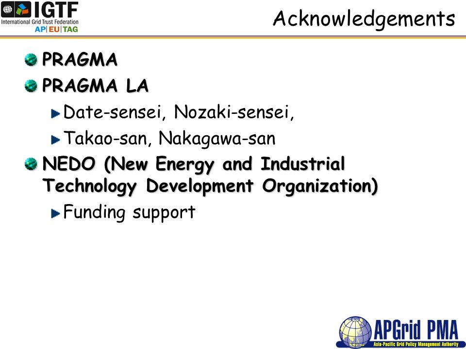 Acknowledgements PRAGMA PRAGMA LA Date-sensei, Nozaki-sensei, Takao-san, Nakagawa-san NEDO (New Energy and Industrial Technology Development Organization) Funding support