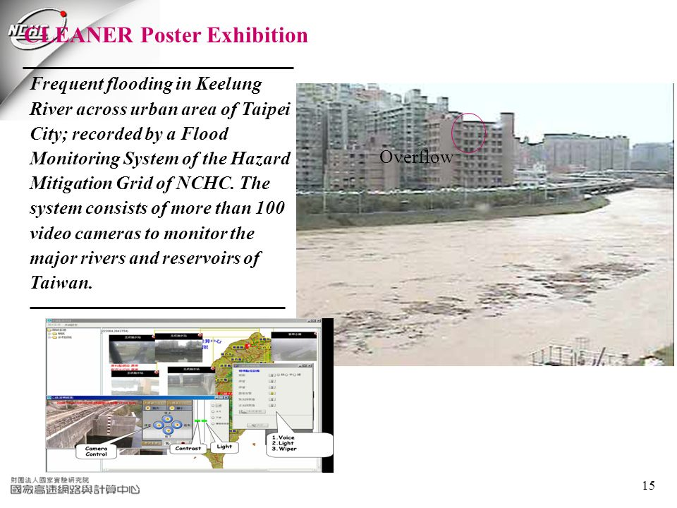 15 Frequent flooding in Keelung River across urban area of Taipei City; recorded by a Flood Monitoring System of the Hazard Mitigation Grid of NCHC.