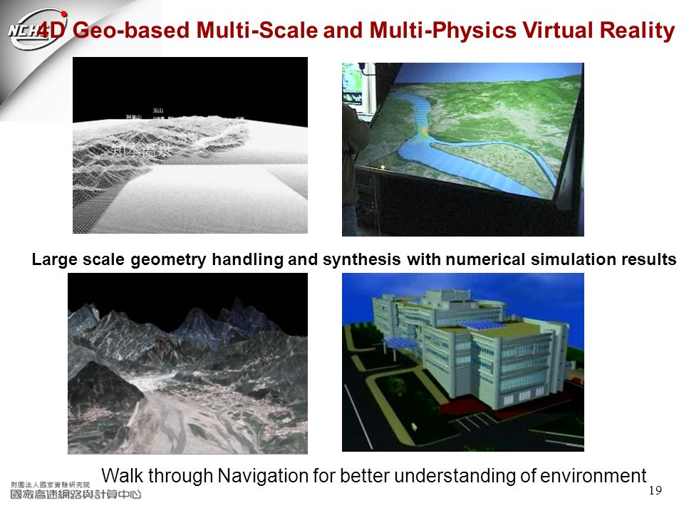 19 4D Geo-based Multi-Scale and Multi-Physics Virtual Reality Walk through Navigation for better understanding of environment Large scale geometry han