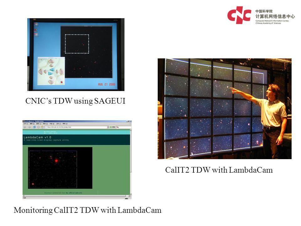 CNICs TDW using SAGEUI Monitoring CalIT2 TDW with LambdaCam CalIT2 TDW with LambdaCam