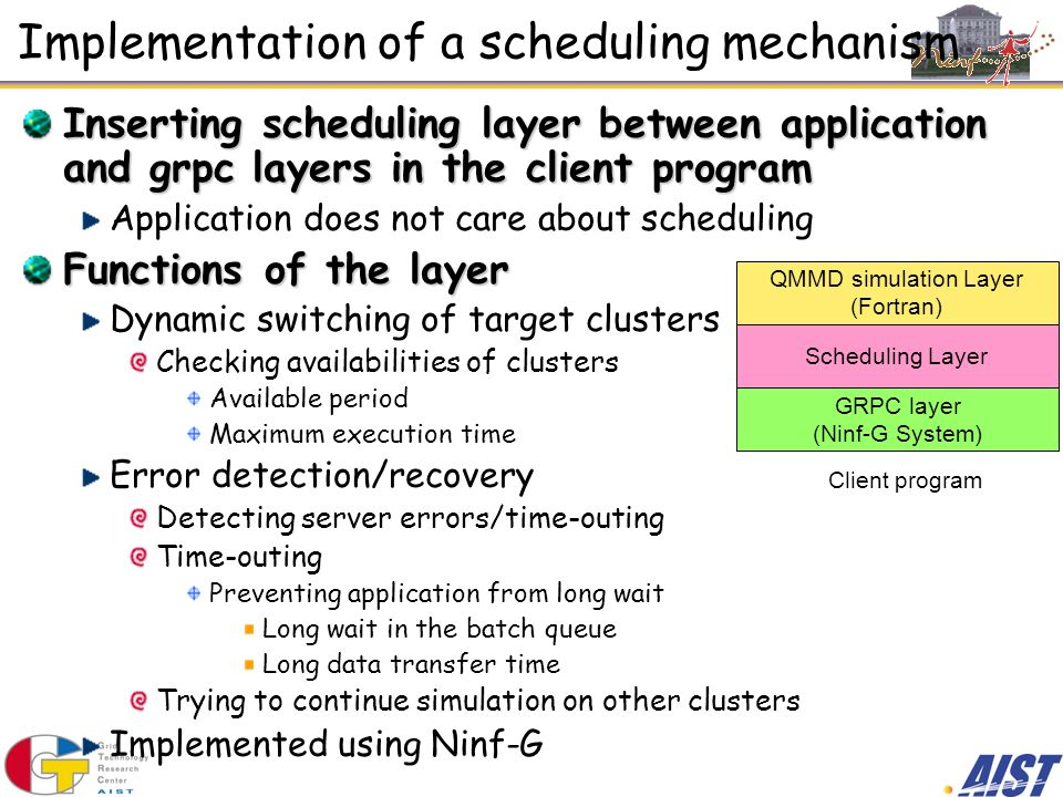 Implementation of a scheduling mechanism Inserting scheduling layer between application and grpc layers in the client program Application does not car