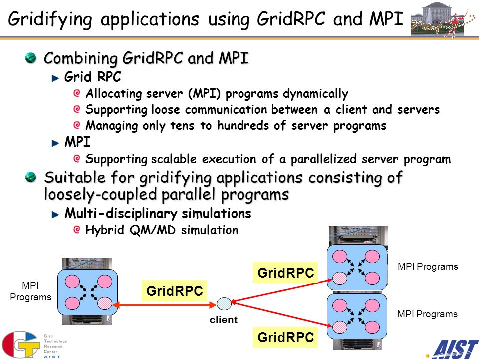Gridifying applications using GridRPC and MPI Combining GridRPC and MPI Grid RPC Allocating server (MPI) programs dynamically Supporting loose communication between a client and servers Managing only tens to hundreds of server programs MPI Supporting scalable execution of a parallelized server program Suitable for gridifying applications consisting of loosely-coupled parallel programs Multi-disciplinary simulations Hybrid QM/MD simulation GridRPC client GridRPC MPI Programs GridRPC MPI Programs MPI Programs