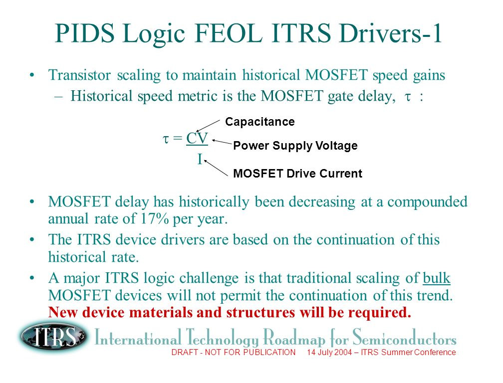 DRAFT - NOT FOR PUBLICATION 14 July 2004 – ITRS Summer Conference PIDS Logic FEOL ITRS Drivers-1 Transistor scaling to maintain historical MOSFET speed gains –Historical speed metric is the MOSFET gate delay, : = CV I MOSFET delay has historically been decreasing at a compounded annual rate of 17% per year.