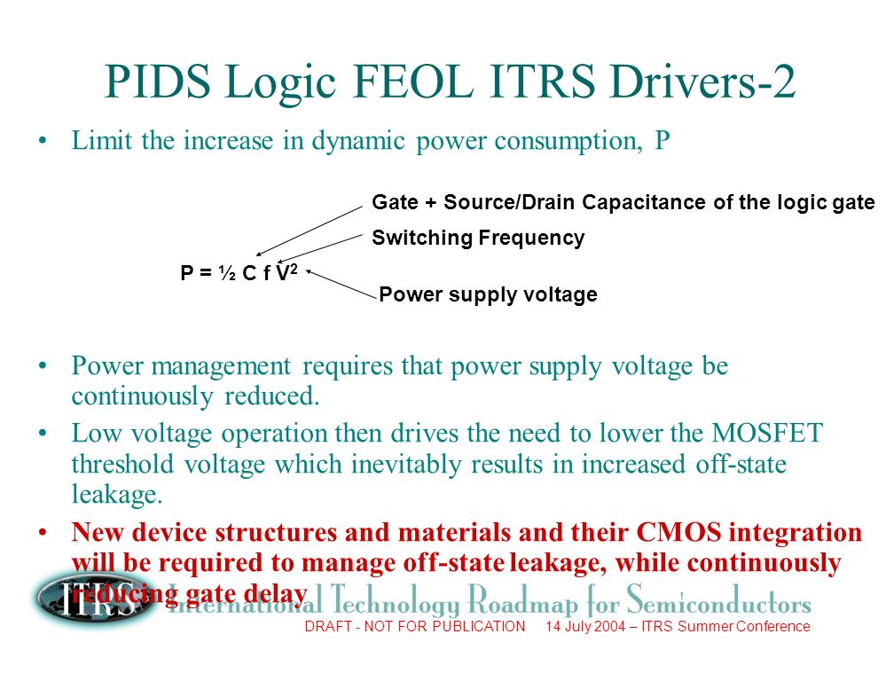 DRAFT - NOT FOR PUBLICATION 14 July 2004 – ITRS Summer Conference Limit the increase in dynamic power consumption, P Power management requires that power supply voltage be continuously reduced.