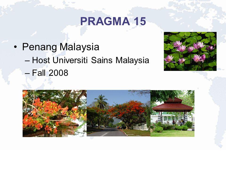 PRAGMA 15 Penang Malaysia –Host Universiti Sains Malaysia –Fall 2008