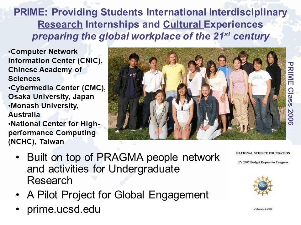 PRIME: Providing Students International Interdisciplinary Research Internships and Cultural Experiences preparing the global workplace of the 21 st ce