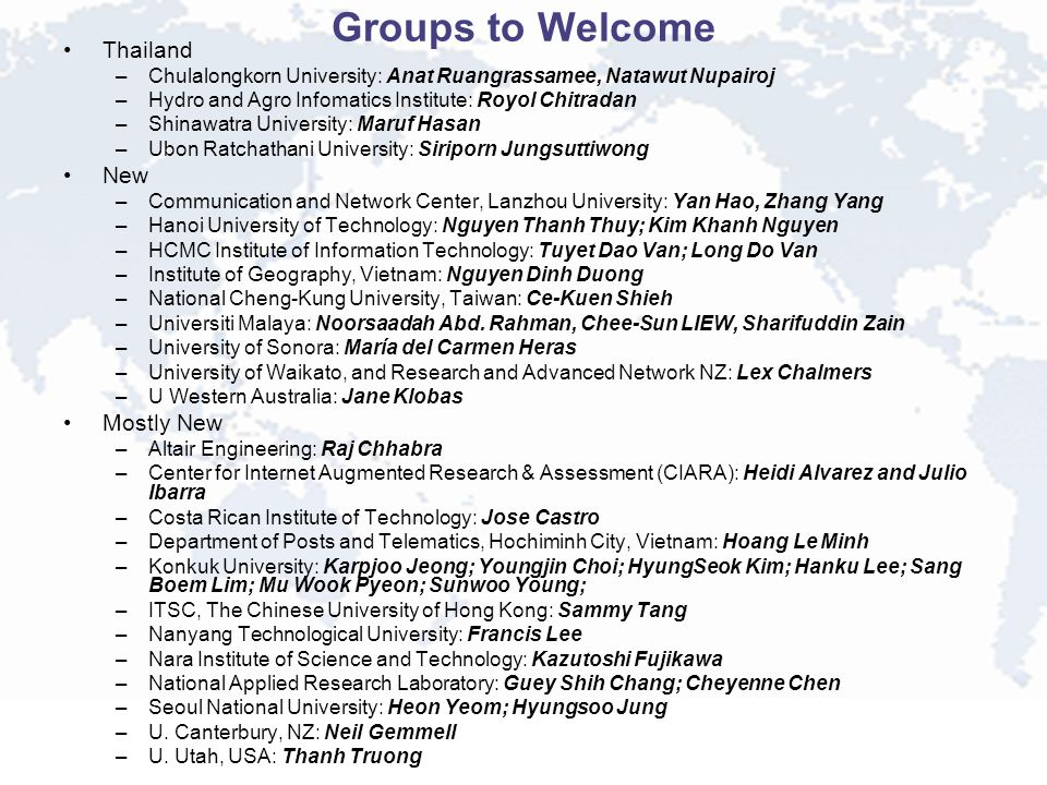 Groups to Welcome Thailand –Chulalongkorn University: Anat Ruangrassamee, Natawut Nupairoj –Hydro and Agro Infomatics Institute: Royol Chitradan –Shinawatra University: Maruf Hasan –Ubon Ratchathani University: Siriporn Jungsuttiwong New –Communication and Network Center, Lanzhou University: Yan Hao, Zhang Yang –Hanoi University of Technology: Nguyen Thanh Thuy; Kim Khanh Nguyen –HCMC Institute of Information Technology: Tuyet Dao Van; Long Do Van –Institute of Geography, Vietnam: Nguyen Dinh Duong –National Cheng-Kung University, Taiwan: Ce-Kuen Shieh –Universiti Malaya: Noorsaadah Abd.