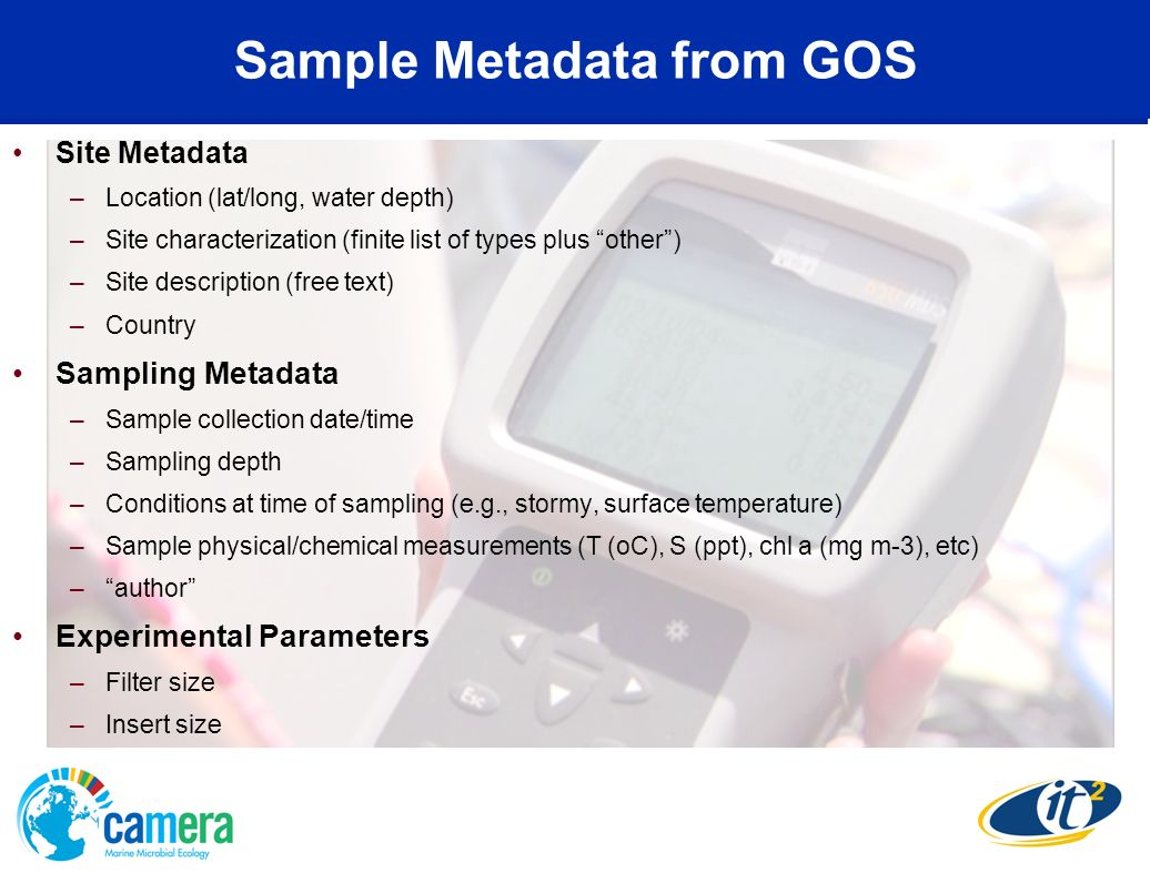 Sample Metadata from GOS Site Metadata –Location (lat/long, water depth) –Site characterization (finite list of types plus other) –Site description (f