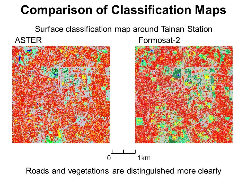Comparison of Classification Maps Formosat-2 Roads and vegetations are distinguished more clearly ASTER Surface classification map around Tainan Stati