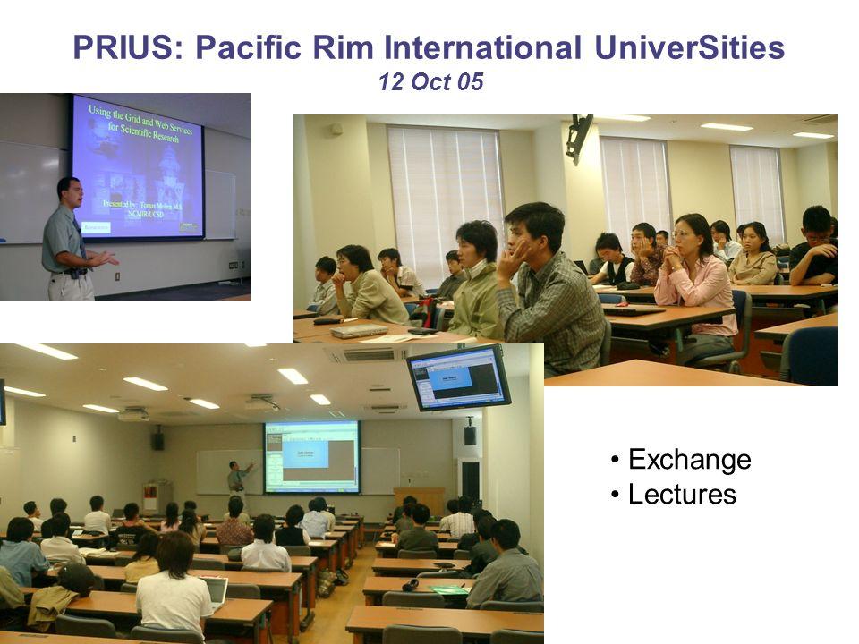 PRIUS: Pacific Rim International UniverSities 12 Oct 05 Exchange Lectures
