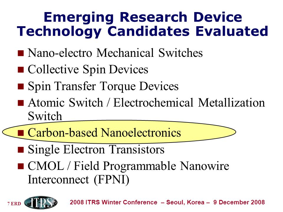 7 ERD 2008 ITRS Winter Conference – Seoul, Korea – 9 December 2008 Emerging Research Device Technology Candidates Evaluated Nano-electro Mechanical Switches Collective Spin Devices Spin Transfer Torque Devices Atomic Switch / Electrochemical Metallization Switch Carbon-based Nanoelectronics Single Electron Transistors CMOL / Field Programmable Nanowire Interconnect (FPNI)