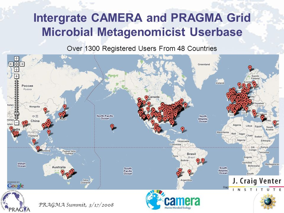 PRAGMA Summit, 3/17/2008 Intergrate CAMERA and PRAGMA Grid Microbial Metagenomicist Userbase Over 1300 Registered Users From 48 Countries