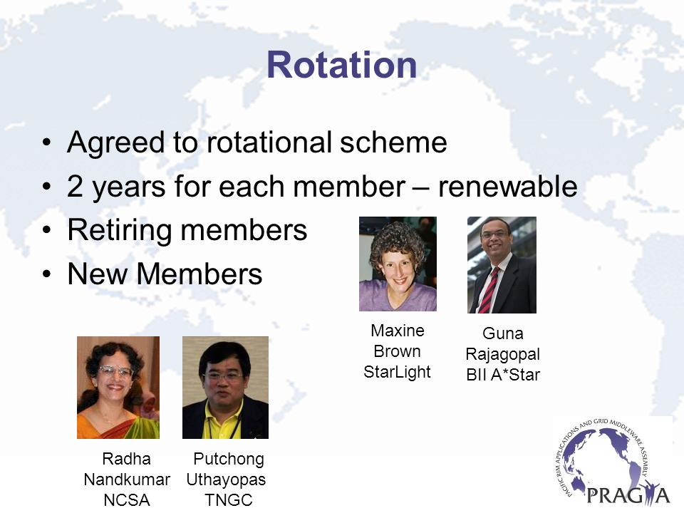 Rotation Agreed to rotational scheme 2 years for each member – renewable Retiring members New Members Maxine Brown StarLight Guna Rajagopal BII A*Star Radha Nandkumar NCSA Putchong Uthayopas TNGC