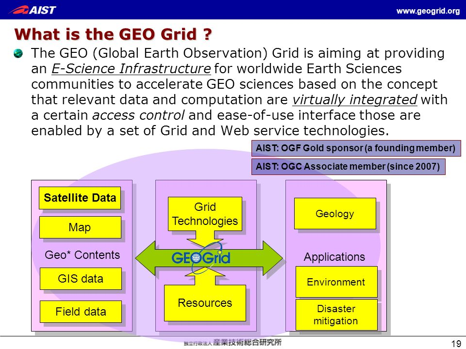 www.geogrid.org 19 What is the GEO Grid ? The GEO (Global Earth Observation) Grid is aiming at providing an E-Science Infrastructure for worldwide Ear