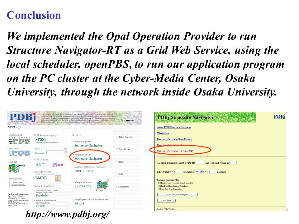 Conclusion We implemented the Opal Operation Provider to run Structure Navigator-RT as a Grid Web Service, using the local scheduler, openPBS, to run