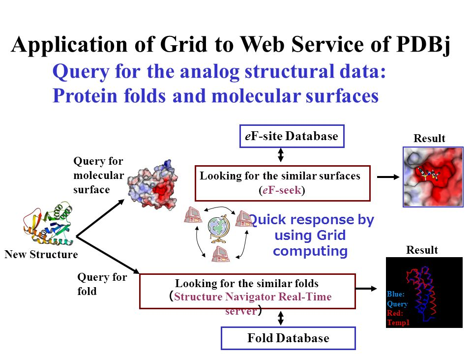 Application of Grid to Web Service of PDBj Query for the analog structural data: Protein folds and molecular surfaces Blue: Query Red: Temp1 New Struc