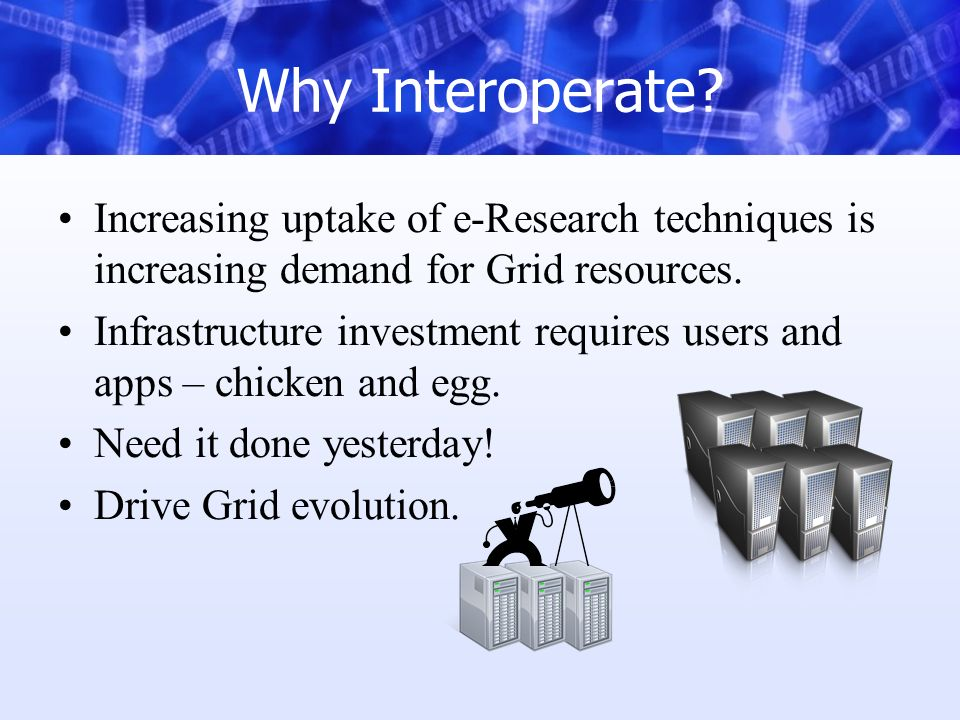Why Interoperate? Increasing uptake of e-Research techniques is increasing demand for Grid resources. Infrastructure investment requires users and app