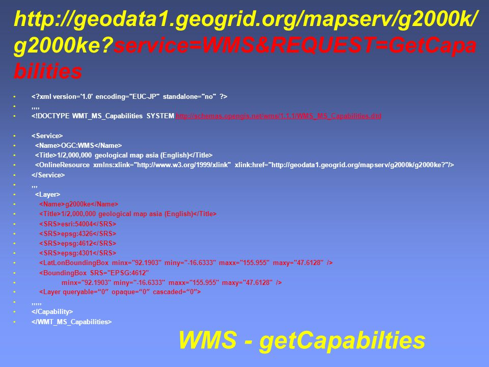 g2000ke service=WMS&REQUEST=GetCapa bilities,,,, <!DOCTYPE WMT_MS_Capabilities SYSTEM   OGC:WMS 1/2,000,000 geological map asia (English),,, g2000ke 1/2,000,000 geological map asia (English) esri:54004 epsg:4326 epsg:4612 epsg:4301 <BoundingBox SRS= EPSG:4612 minx= miny= maxx= maxy= />,,,,, WMS - getCapabilties