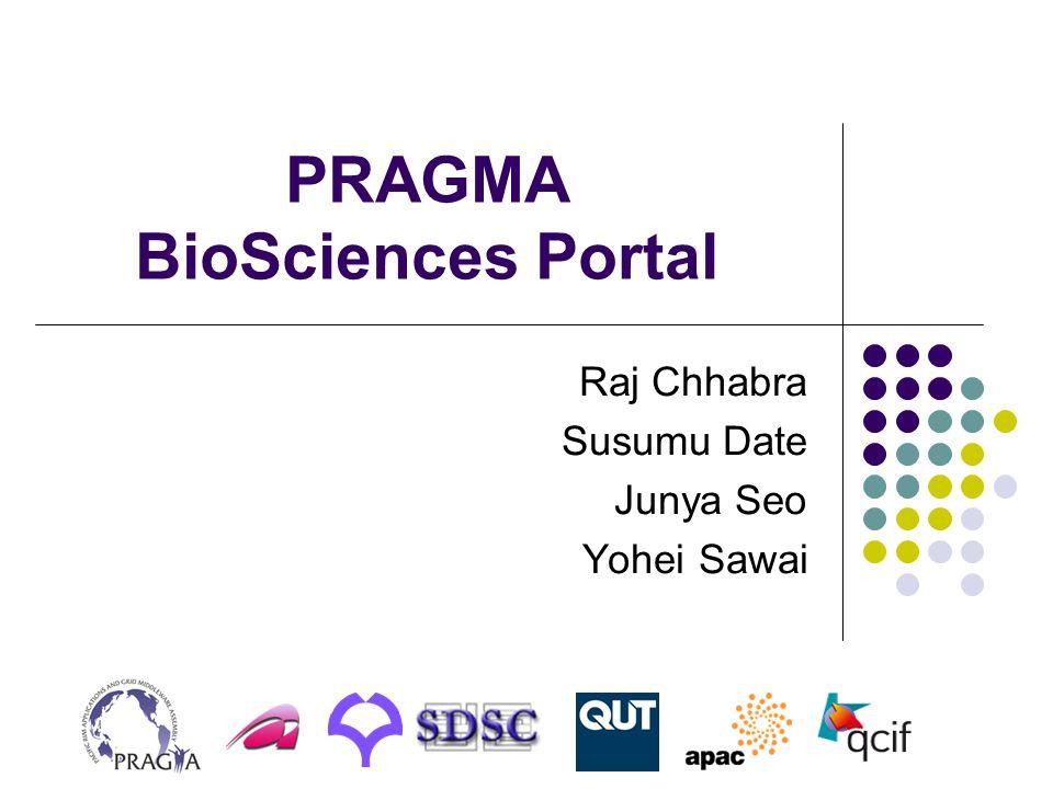 PRAGMA BioSciences Portal Raj Chhabra Susumu Date Junya Seo Yohei Sawai