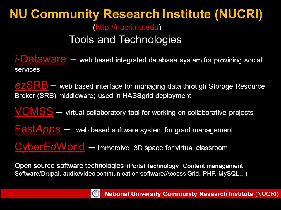 National University Community Research Institute (NUCRI) NU Community Research Institute (NUCRI) (http://nucri.nu.edu)http://nucri.nu.edu i-Datawarei-