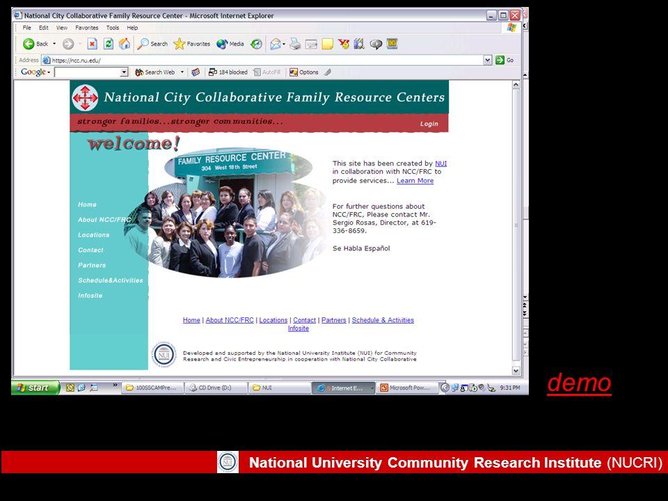 National University Community Research Institute (NUCRI) demo