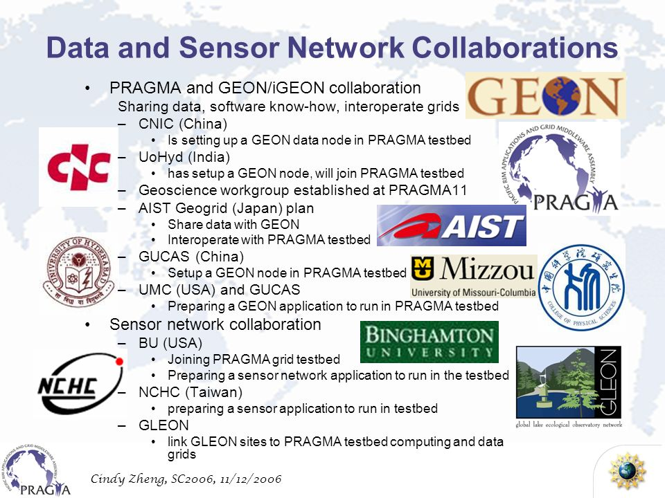 Cindy Zheng, SC2006, 11/12/2006 PRAGMA and GEON/iGEON collaboration Sharing data, software know-how, interoperate grids –CNIC (China) Is setting up a GEON data node in PRAGMA testbed –UoHyd (India) has setup a GEON node, will join PRAGMA testbed –Geoscience workgroup established at PRAGMA11 –AIST Geogrid (Japan) plan Share data with GEON Interoperate with PRAGMA testbed –GUCAS (China) Setup a GEON node in PRAGMA testbed –UMC (USA) and GUCAS Preparing a GEON application to run in PRAGMA testbed Sensor network collaboration –BU (USA) Joining PRAGMA grid testbed Preparing a sensor network application to run in the testbed –NCHC (Taiwan) preparing a sensor application to run in testbed –GLEON link GLEON sites to PRAGMA testbed computing and data grids Data and Sensor Network Collaborations