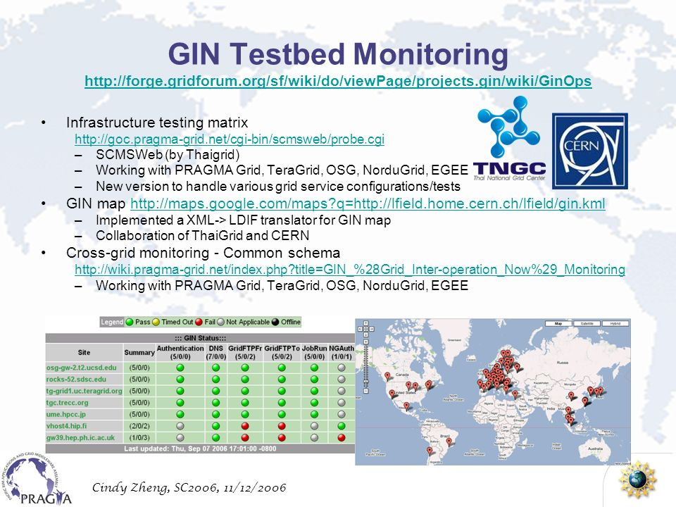 Cindy Zheng, SC2006, 11/12/2006 GIN Testbed Monitoring http://forge.gridforum.org/sf/wiki/do/viewPage/projects.gin/wiki/GinOps http://forge.gridforum.org/sf/wiki/do/viewPage/projects.gin/wiki/GinOps Infrastructure testing matrix http://goc.pragma-grid.net/cgi-bin/scmsweb/probe.cgi –SCMSWeb (by Thaigrid) –Working with PRAGMA Grid, TeraGrid, OSG, NorduGrid, EGEE –New version to handle various grid service configurations/tests GIN map http://maps.google.com/maps q=http://lfield.home.cern.ch/lfield/gin.kmlhttp://maps.google.com/maps q=http://lfield.home.cern.ch/lfield/gin.kml –Implemented a XML-> LDIF translator for GIN map –Collaboration of ThaiGrid and CERN Cross-grid monitoring - Common schema http://wiki.pragma-grid.net/index.php title=GIN_%28Grid_Inter-operation_Now%29_Monitoring –Working with PRAGMA Grid, TeraGrid, OSG, NorduGrid, EGEE