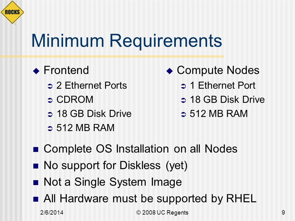 2/6/2014© 2008 UC Regents20 Software Repository Descriptive information to configure a node Compute Node Kickstart file IO ServerWeb Server Appliances Collection of all possible software packages (AKA Distribution) RPMs
