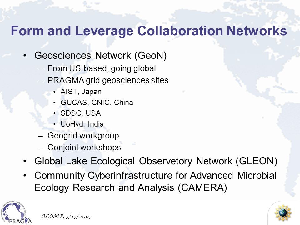 ACOMP, 3/15/2007 Form and Leverage Collaboration Networks Geosciences Network (GeoN) –From US-based, going global –PRAGMA grid geosciences sites AIST, Japan GUCAS, CNIC, China SDSC, USA UoHyd, India –Geogrid workgroup –Conjoint workshops Global Lake Ecological Observetory Network (GLEON) Community Cyberinfrastructure for Advanced Microbial Ecology Research and Analysis (CAMERA)