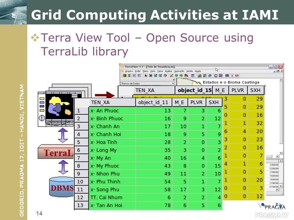 GEOGRID, PRAGMA 17, IOIT – HANOI, VIETNAM Terra View Tool – Open Source using TerraLib library PRAGMA 17 Grid Computing Activities at IAMI 14