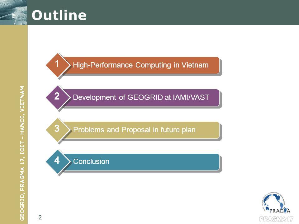 GEOGRID, PRAGMA 17, IOIT – HANOI, VIETNAM Scientific Linux 4.5 OS Java JDK 1.6 or later gLite UI installed and configured AMGA 1.3.0 or later Apache Tomcat 5.5 Apache Ant 1.7.0 or later Ant contrib 1.0b3 Apache Axis 1.4 Gridsphere 3.0.8 or later DCMTK (Dicom toolkit) 3.5.4 or later PostgreSQL Grid Computing activities at IAMI http://ui.ioit-hcm.vngrid.org:8080/gridsphere 13 PRAGMA 17