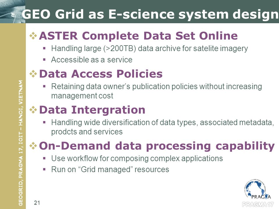 GEOGRID, PRAGMA 17, IOIT – HANOI, VIETNAM GEO Grid as E-science system design ASTER Complete Data Set Online Handling large (>200TB) data archive for