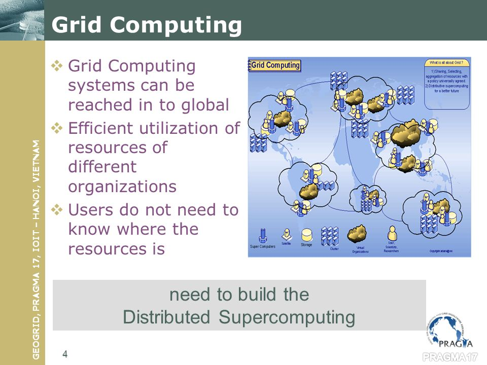 GEOGRID, PRAGMA 17, IOIT – HANOI, VIETNAM Grid Computing systems can be reached in to global Efficient utilization of resources of different organizations Users do not need to know where the resources is need to build the Distributed Supercomputing Grid Computing 4
