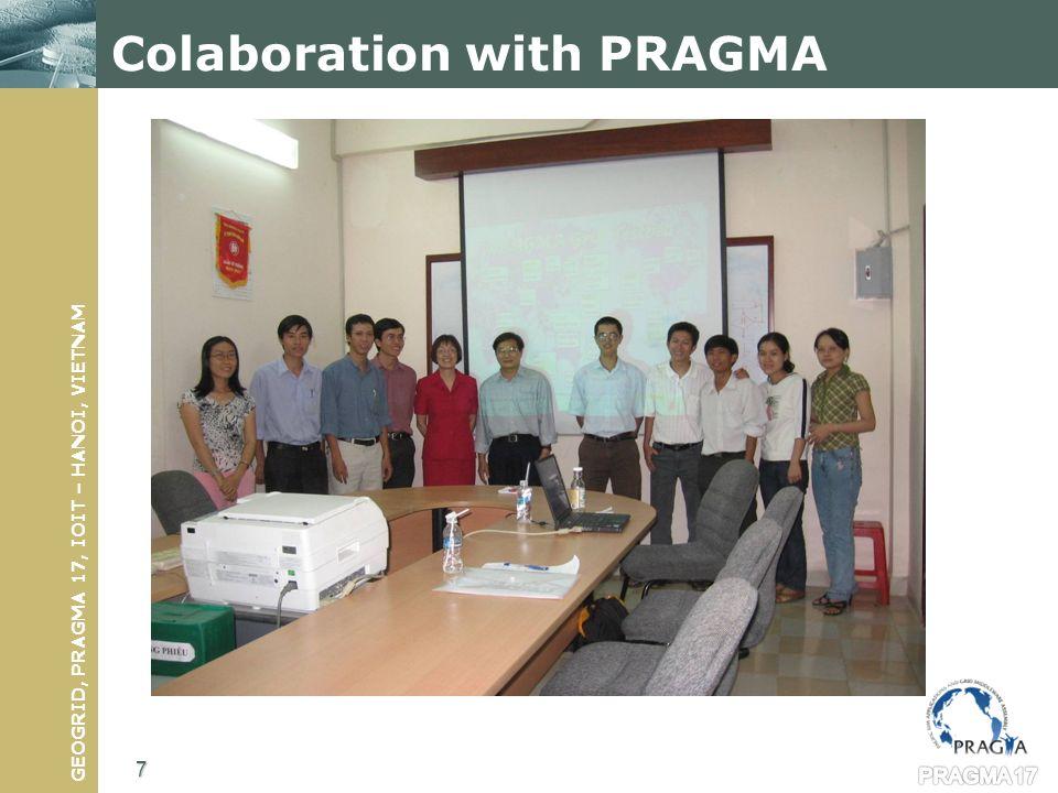 GEOGRID, PRAGMA 17, IOIT – HANOI, VIETNAM PRAGMAGrid Members Using Globus Toolkit in the grid infrastructure Now IAMI 8