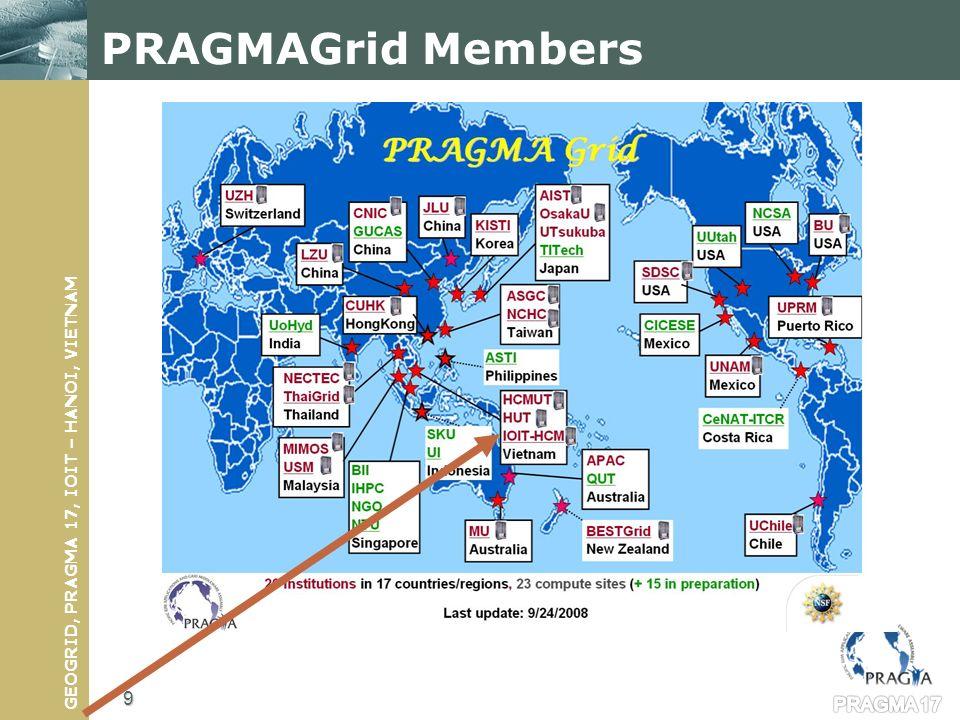 GEOGRID, PRAGMA 17, IOIT – HANOI, VIETNAM PRAGMAGrid Members PRAGMA 17 9