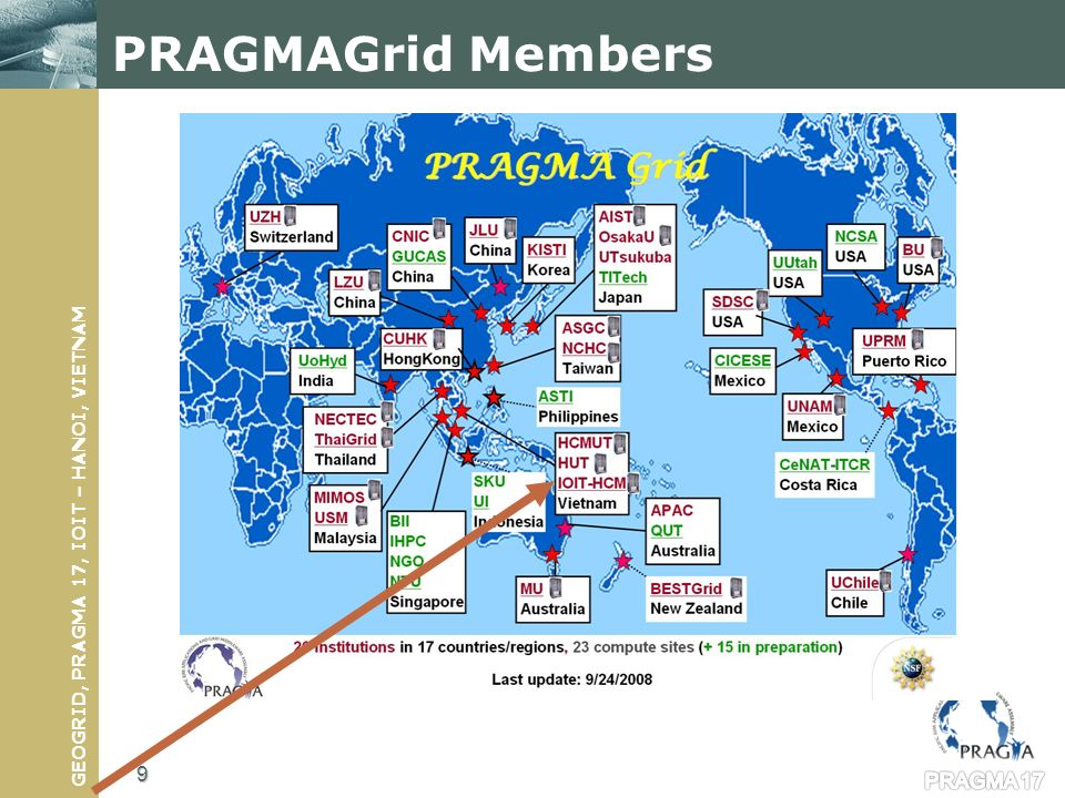 GEOGRID, PRAGMA 17, IOIT – HANOI, VIETNAM EUAsiaGrid Members Using gLite in the grid infrastructure 10