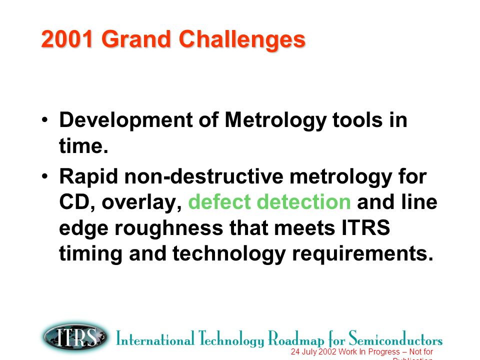 24 July 2002 Work In Progress – Not for Publication 2001 Grand Challenges Development of Metrology tools in time.